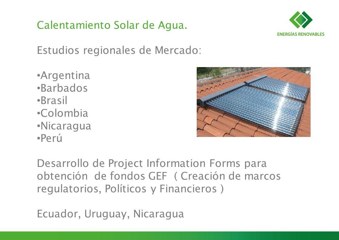 Calentamiento Solar de Agua. Estudios regionales de Mercado: Argentina Barbados Brasil Colombia Nicaragua Perú Desarrollo de Project Information Forms