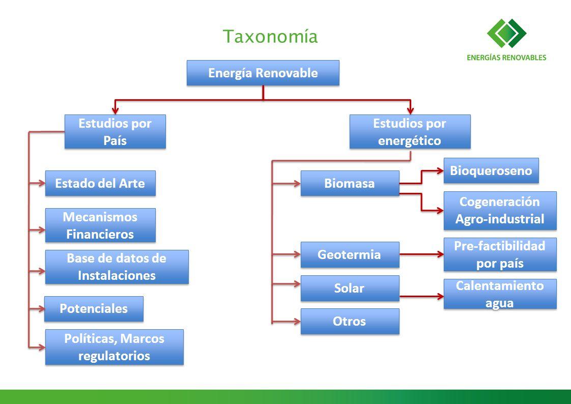 Taxonomía Energía Renovable Estudios por País Estado del Arte Mecanismos Financieros Biomasa Geotermia Estudios por energético Base de datos de Instal