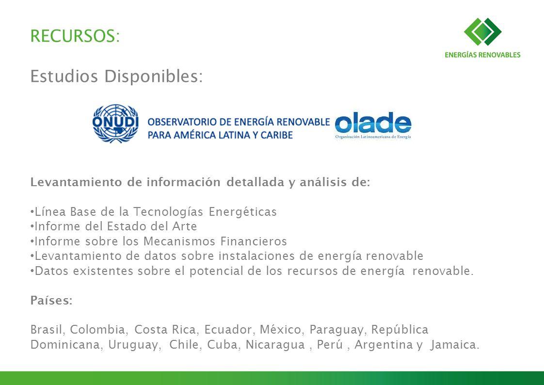 RECURSOS: Estudios Disponibles: Levantamiento de información detallada y análisis de: Línea Base de la Tecnologías Energéticas Informe del Estado del