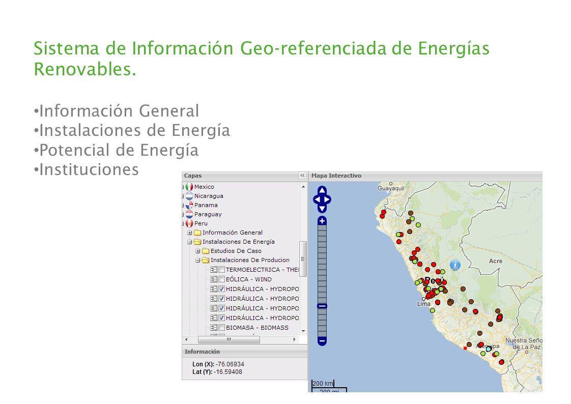 Sistema de Información Geo-referenciada de Energías Renovables. Información General Instalaciones de Energía Potencial de Energía Instituciones