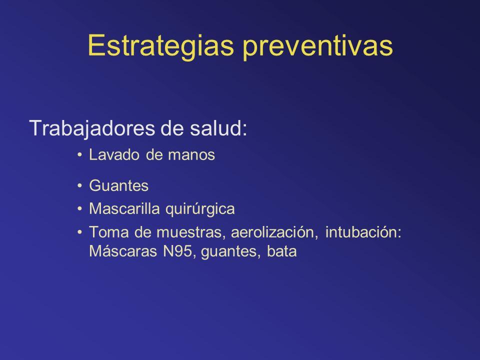 Estrategias preventivas Trabajadores de salud: Lavado de manos Guantes Mascarilla quirúrgica Toma de muestras, aerolización, intubación: Máscaras N95,