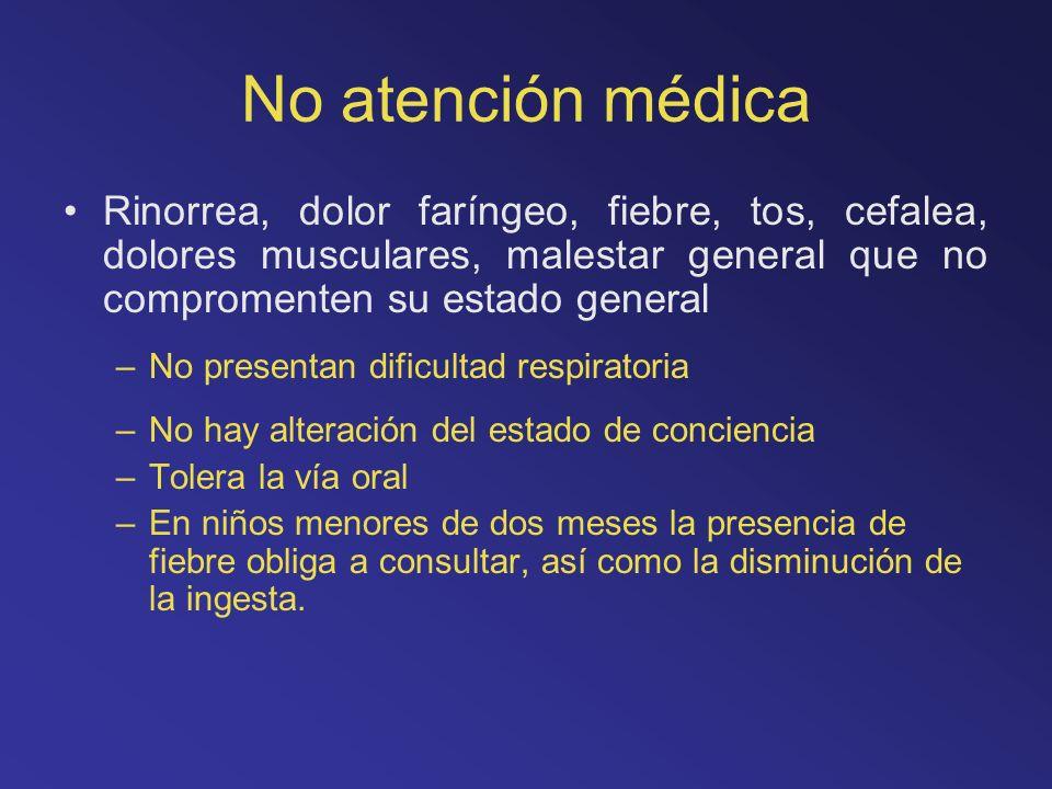 No atención médica Rinorrea, dolor faríngeo, fiebre, tos, cefalea, dolores musculares, malestar general que no compromenten su estado general –No pres