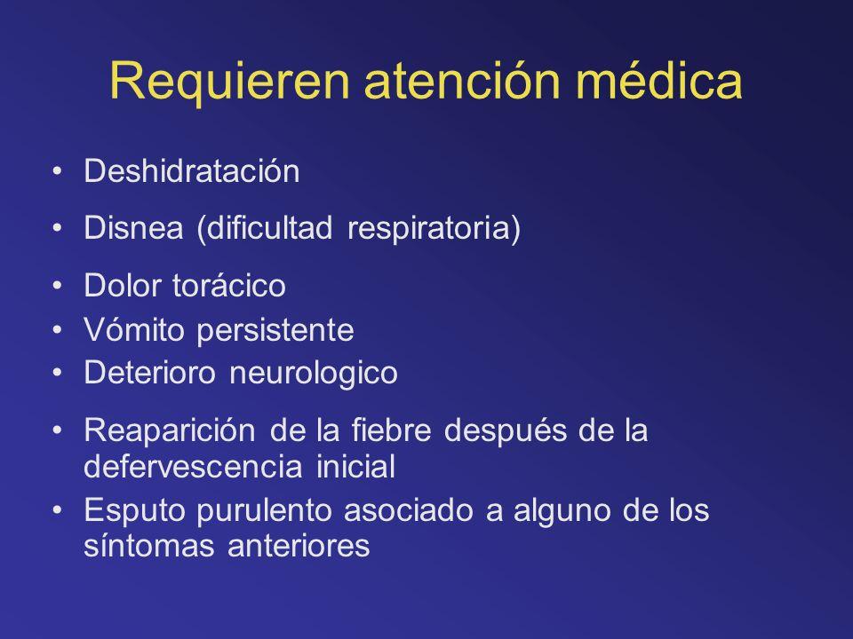 Requieren atención médica Deshidratación Disnea (dificultad respiratoria) Dolor torácico Vómito persistente Deterioro neurologico Reaparición de la fi