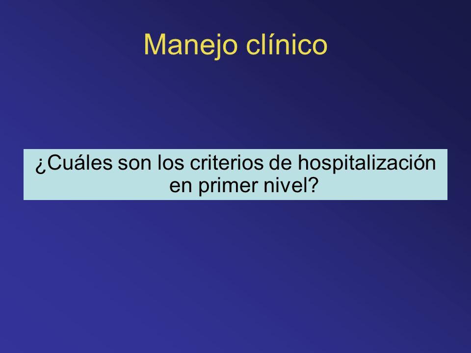 Manejo clínico ¿Cuáles son los criterios de hospitalización en primer nivel?
