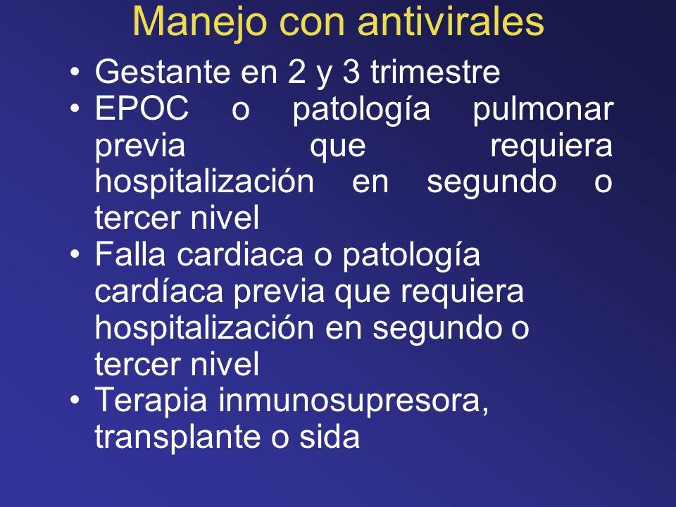 Manejo con antivirales Gestante en 2 y 3 trimestre EPOC o patología pulmonar previa que requiera hospitalización en segundo o tercer nivel Falla cardi
