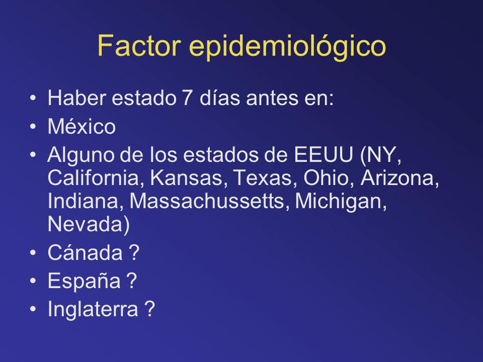 Factor epidemiológico Haber estado 7 días antes en: México Alguno de los estados de EEUU (NY, California, Kansas, Texas, Ohio, Arizona, Indiana, Massa