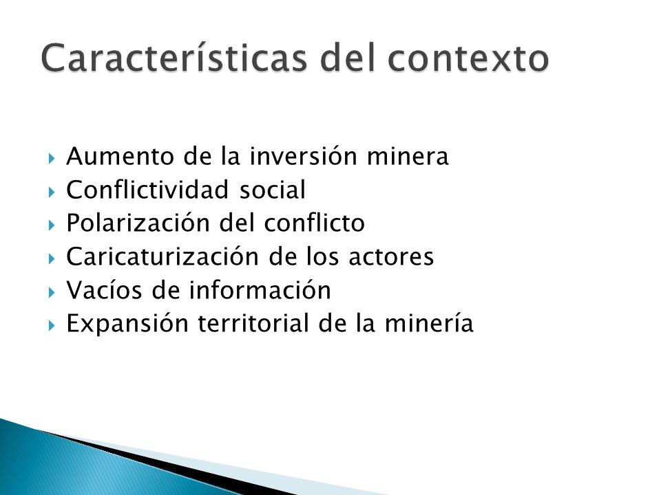 Aumento de la inversión minera Conflictividad social Polarización del conflicto Caricaturización de los actores Vacíos de información Expansión territorial de la minería