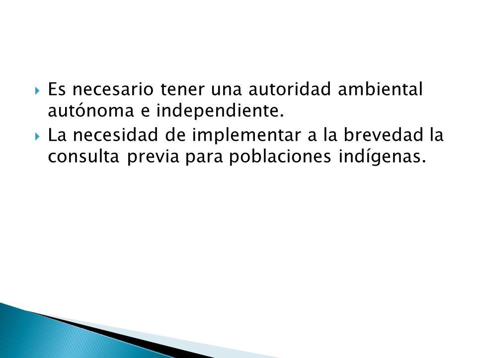 Es necesario tener una autoridad ambiental autónoma e independiente.