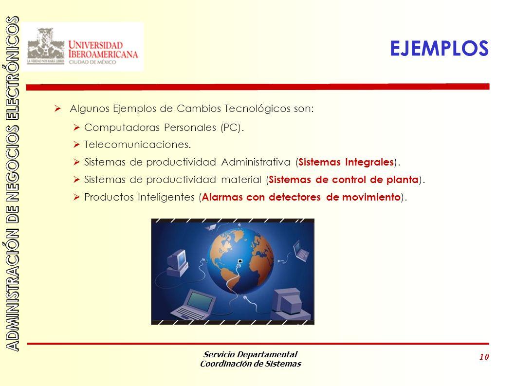 Servicio Departamental Coordinación de Sistemas 10 EJEMPLOS Algunos Ejemplos de Cambios Tecnológicos son: Computadoras Personales (PC).