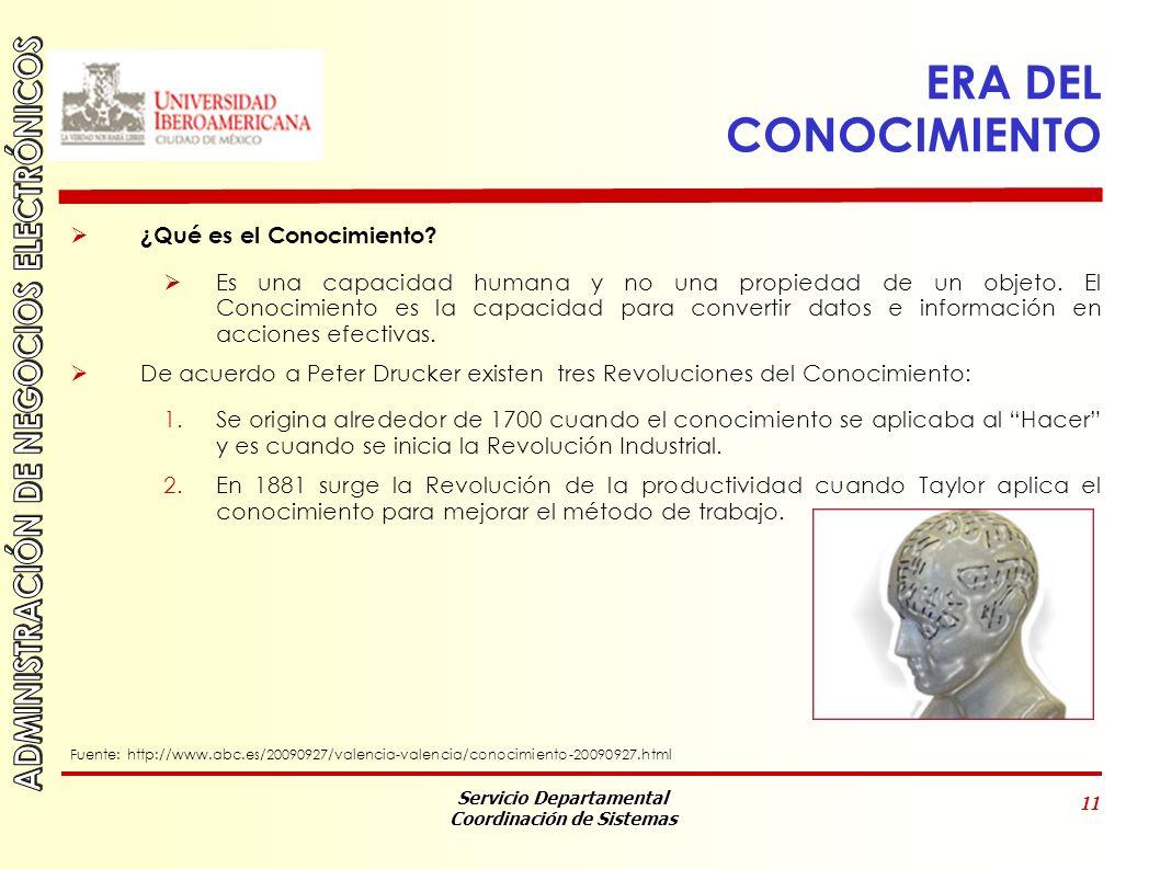 Servicio Departamental Coordinación de Sistemas 11 ERA DEL CONOCIMIENTO ¿Qué es el Conocimiento.
