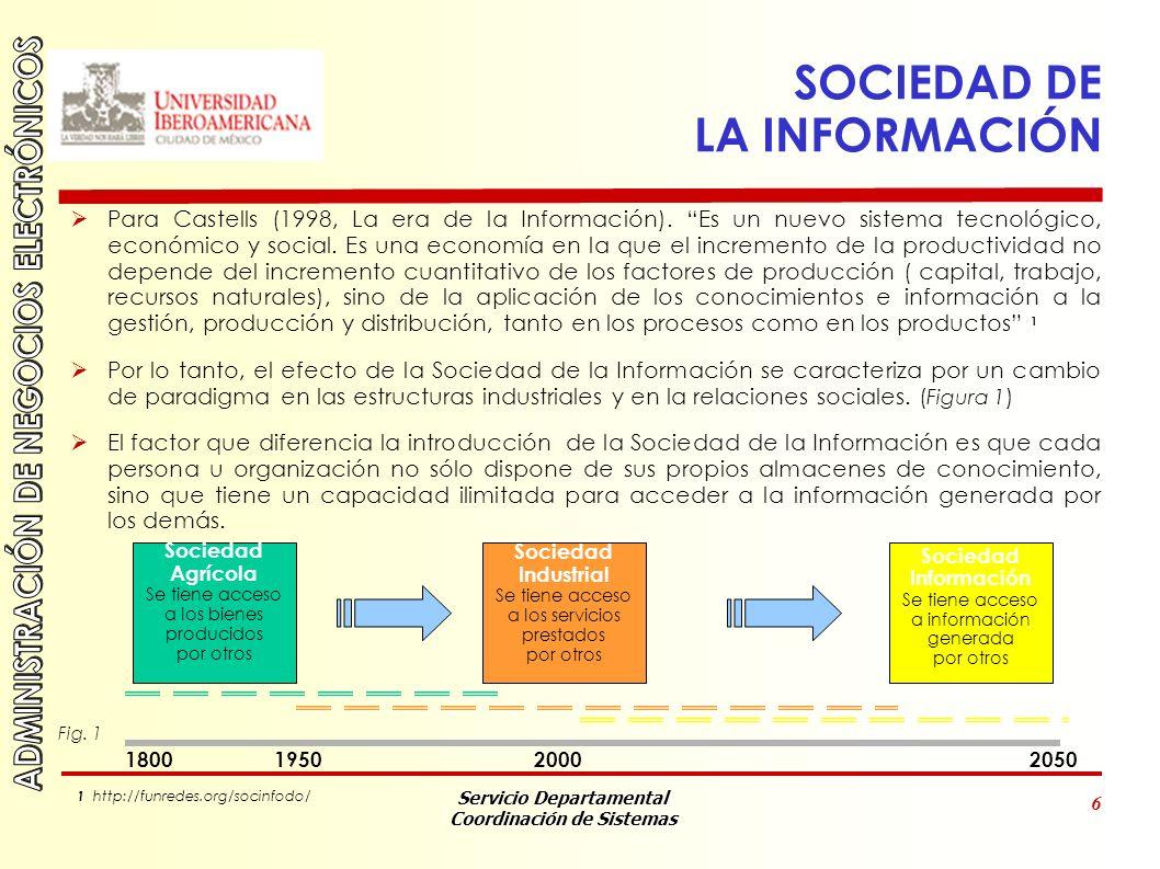 Servicio Departamental Coordinación de Sistemas 6 SOCIEDAD DE LA INFORMACIÓN Para Castells (1998, La era de la Información).