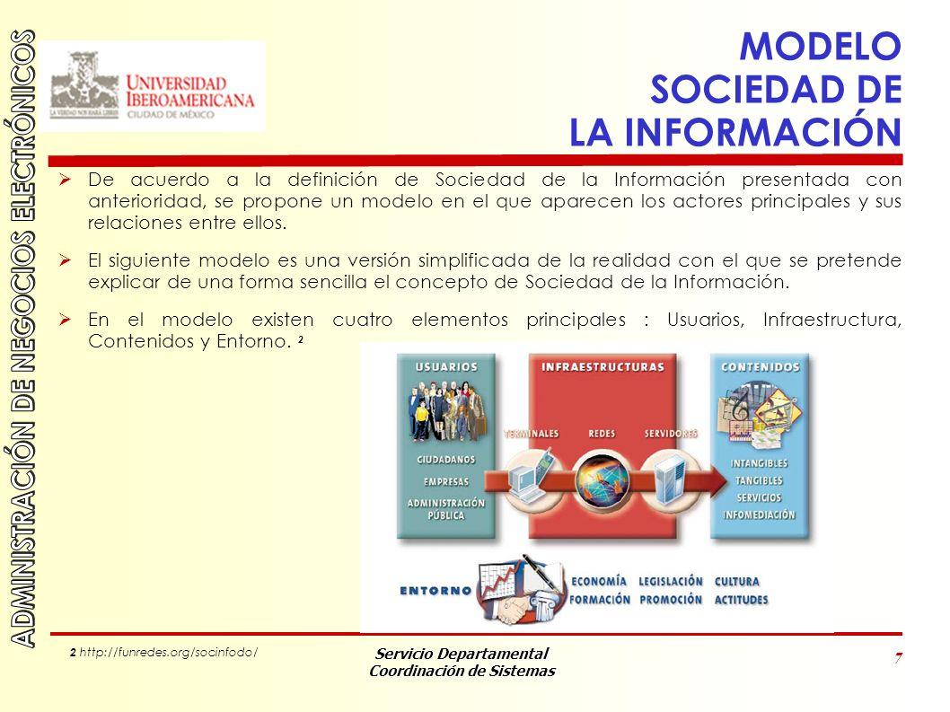 Servicio Departamental Coordinación de Sistemas 8 MODELO SOCIEDAD DE LA INFORMACIÓN 1.