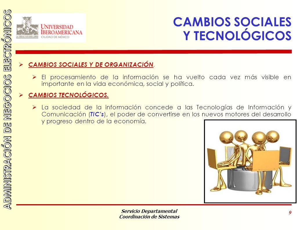 Servicio Departamental Coordinación de Sistemas 9 CAMBIOS SOCIALES Y TECNOLÓGICOS CAMBIOS SOCIALES Y DE ORGANIZACIÓN.