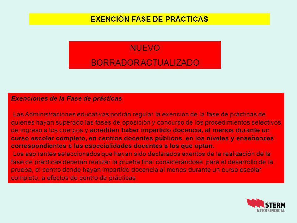 Exenciones de la Fase de prácticas Las Administraciones educativas podrán regular la exención de la fase de prácticas de quienes hayan superado las fa