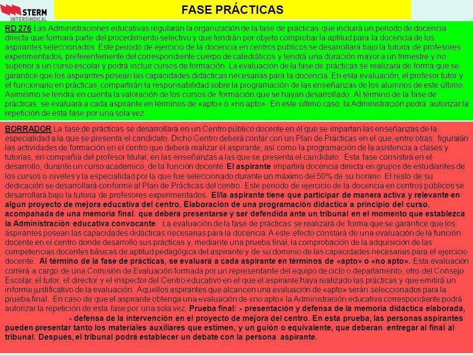 FASE PRÁCTICAS RD 276 Las Administraciones educativas regularán la organización de la fase de prácticas que incluirá un periodo de docencia directa qu