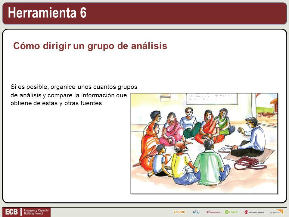 Herramienta 6 Cómo dirigir un grupo de análisis Si es posible, organice unos cuantos grupos de análisis y compare la información que obtiene de estas y otras fuentes.