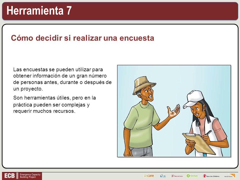 Herramienta 7 Cómo decidir si realizar una encuesta Las encuestas se pueden utilizar para obtener información de un gran número de personas antes, durante o después de un proyecto.