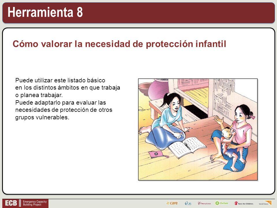Herramienta 8 Cómo valorar la necesidad de protección infantil Puede utilizar este listado básico en los distintos ámbitos en que trabaja o planea trabajar.