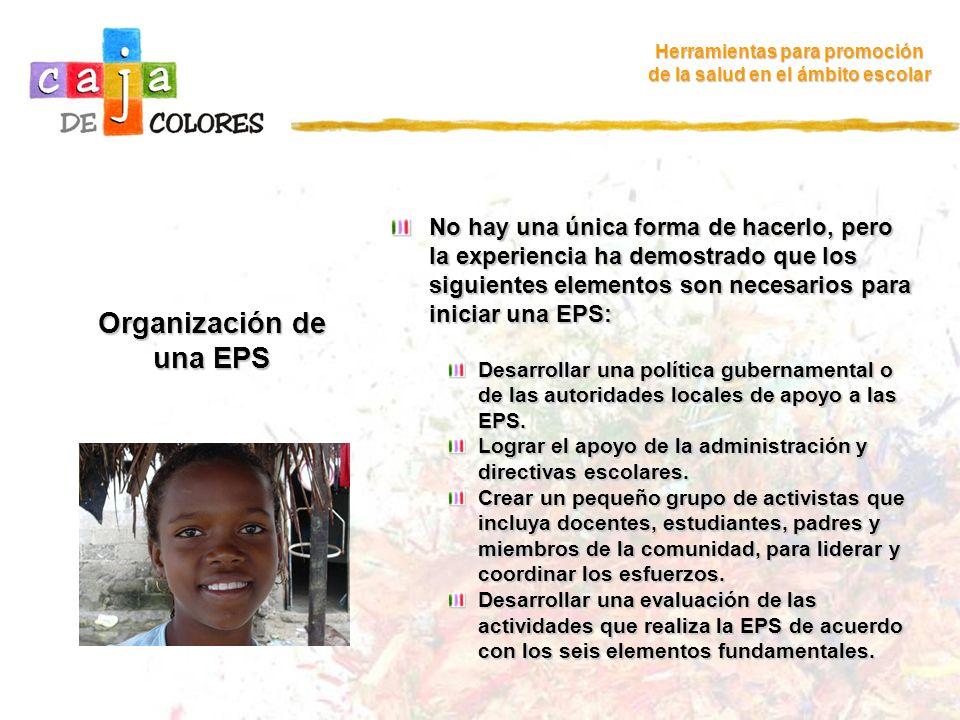 Organización de una EPS Herramientas para promoción de la salud en el ámbito escolar No hay una única forma de hacerlo, pero la experiencia ha demostr