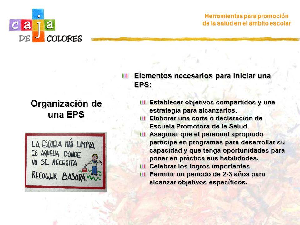 Organización de una EPS Herramientas para promoción de la salud en el ámbito escolar Elementos necesarios para iniciar una EPS: Establecer objetivos c