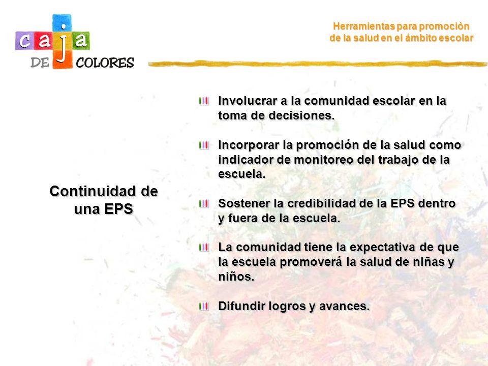 Continuidad de una EPS Herramientas para promoción de la salud en el ámbito escolar Involucrar a la comunidad escolar en la toma de decisiones. Incorp