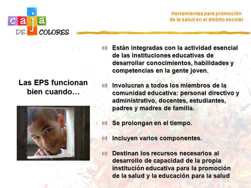 Las EPS funcionan bien cuando… Herramientas para promoción de la salud en el ámbito escolar Están integradas con la actividad esencial de las instituc