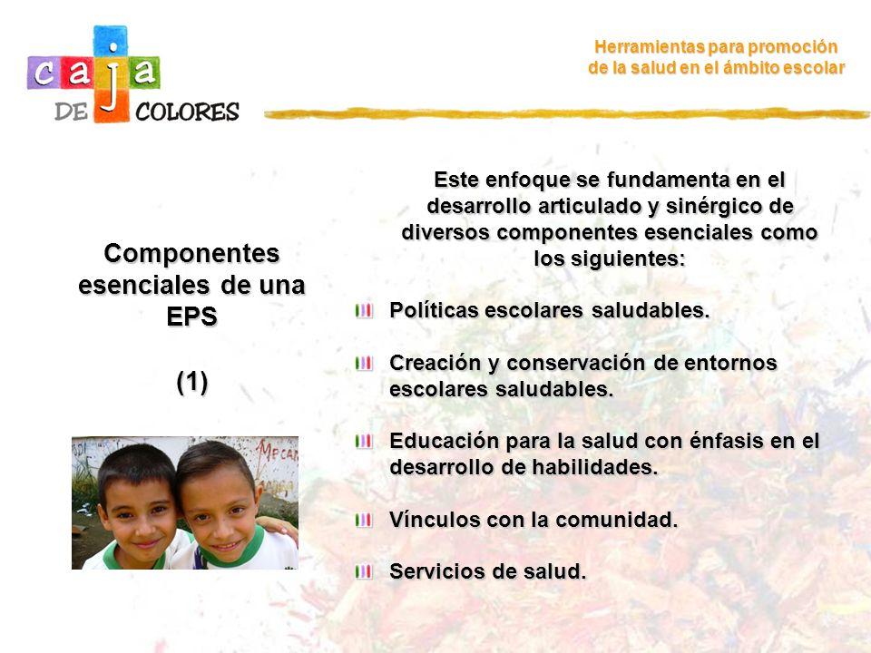 Componentes esenciales de una EPS (1) Herramientas para promoción de la salud en el ámbito escolar Este enfoque se fundamenta en el desarrollo articul