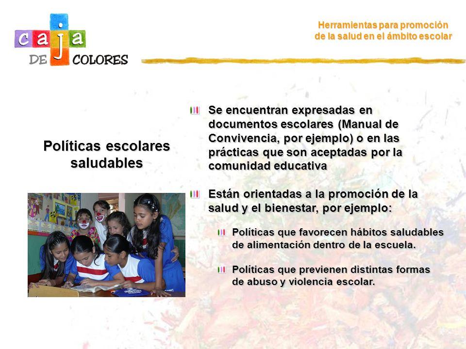 Políticas escolares saludables Herramientas para promoción de la salud en el ámbito escolar Se encuentran expresadas en documentos escolares (Manual d