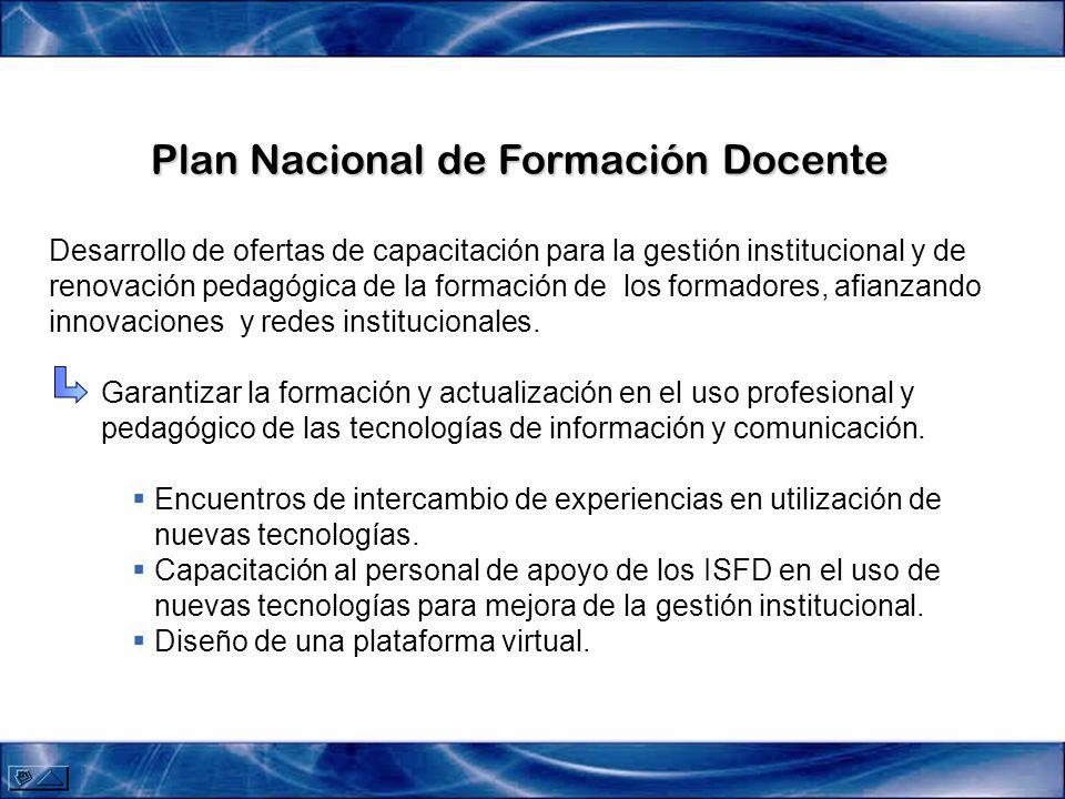 Plan Nacional de Formación Docente Desarrollo de ofertas de capacitación para la gestión institucional y de renovación pedagógica de la formación de los formadores, afianzando innovaciones y redes institucionales.