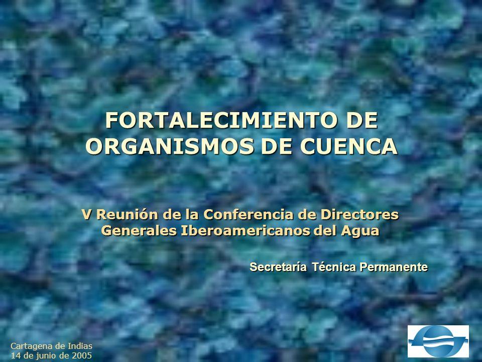 Cartagena de Indias 14 de junio de 2005 FORTALECIMIENTO DE ORGANISMOS DE CUENCA V Reunión de la Conferencia de Directores Generales Iberoamericanos del Agua Secretaría Técnica Permanente