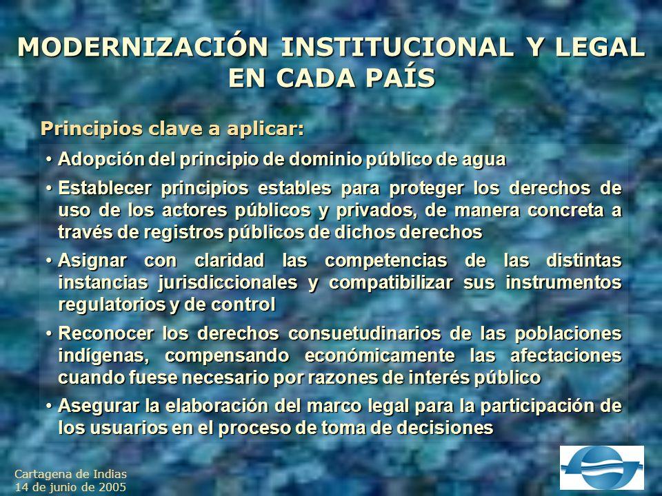 Cartagena de Indias 14 de junio de 2005 MODERNIZACIÓN INSTITUCIONAL Y LEGAL EN CADA PAÍS Principios clave a aplicar: Adopción del principio de dominio público de aguaAdopción del principio de dominio público de agua Establecer principios estables para proteger los derechos de uso de los actores públicos y privados, de manera concreta a través de registros públicos de dichos derechosEstablecer principios estables para proteger los derechos de uso de los actores públicos y privados, de manera concreta a través de registros públicos de dichos derechos Asignar con claridad las competencias de las distintas instancias jurisdiccionales y compatibilizar sus instrumentos regulatorios y de controlAsignar con claridad las competencias de las distintas instancias jurisdiccionales y compatibilizar sus instrumentos regulatorios y de control Reconocer los derechos consuetudinarios de las poblaciones indígenas, compensando económicamente las afectaciones cuando fuese necesario por razones de interés públicoReconocer los derechos consuetudinarios de las poblaciones indígenas, compensando económicamente las afectaciones cuando fuese necesario por razones de interés público Asegurar la elaboración del marco legal para la participación de los usuarios en el proceso de toma de decisionesAsegurar la elaboración del marco legal para la participación de los usuarios en el proceso de toma de decisiones