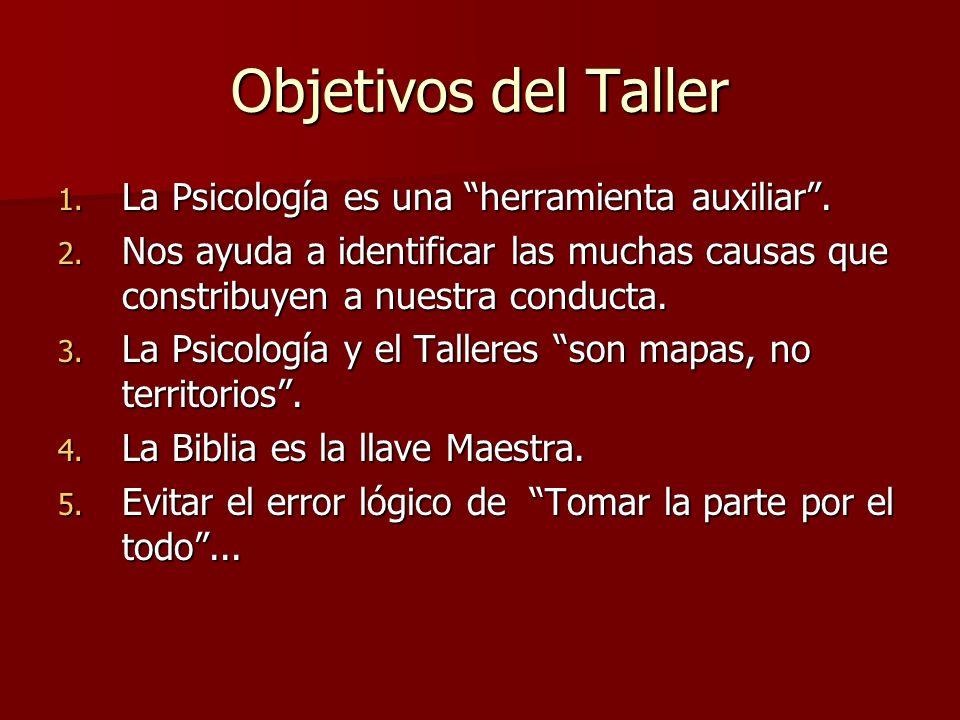 Objetivos del Taller 1. La Psicología es una herramienta auxiliar. 2. Nos ayuda a identificar las muchas causas que constribuyen a nuestra conducta. 3