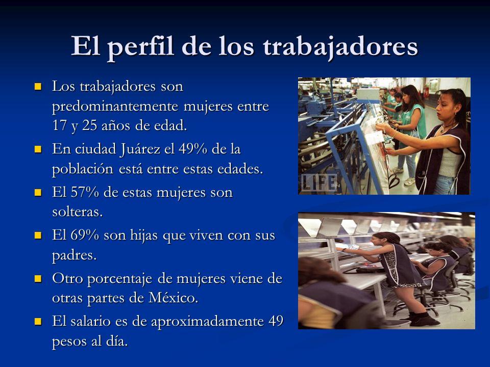 El perfil de los trabajadores Los trabajadores son predominantemente mujeres entre 17 y 25 años de edad. Los trabajadores son predominantemente mujere