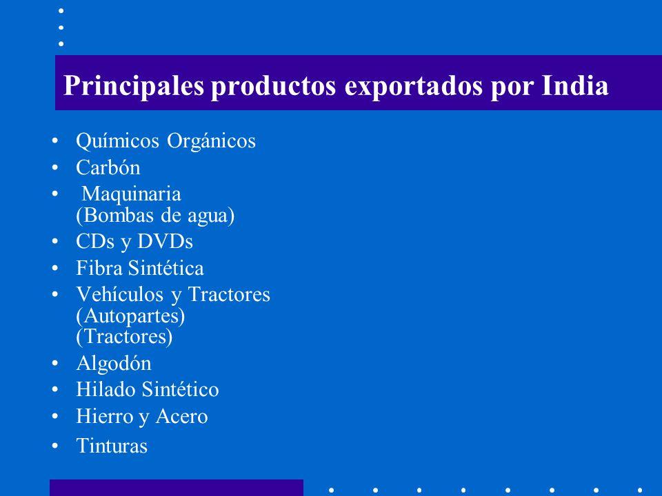 Principales productos exportados por India Químicos Orgánicos Carbón Maquinaria (Bombas de agua) CDs y DVDs Fibra Sintética Vehículos y Tractores (Aut
