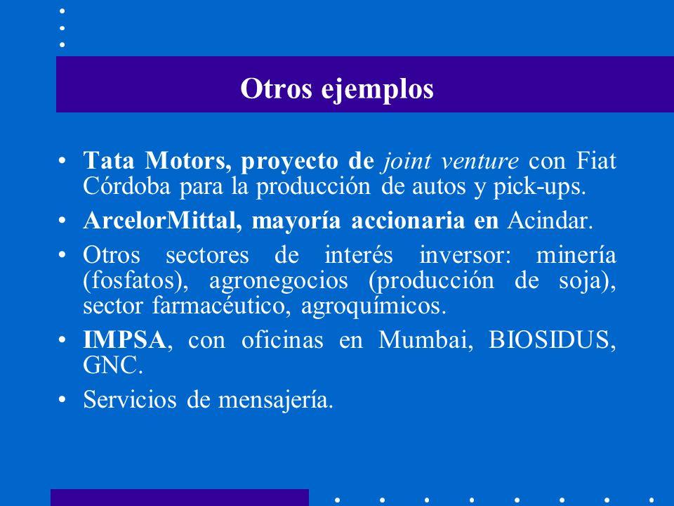 Otros ejemplos Tata Motors, proyecto de joint venture con Fiat Córdoba para la producción de autos y pick-ups. ArcelorMittal, mayoría accionaria en Ac
