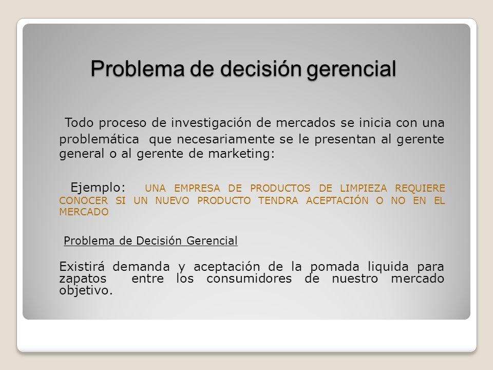 Problema de decisión gerencial Todo proceso de investigación de mercados se inicia con una problemática que necesariamente se le presentan al gerente