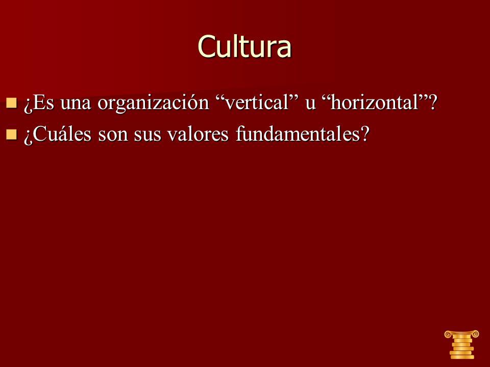 Cultura ¿Es una organización vertical u horizontal? ¿Es una organización vertical u horizontal? ¿Cuáles son sus valores fundamentales? ¿Cuáles son sus