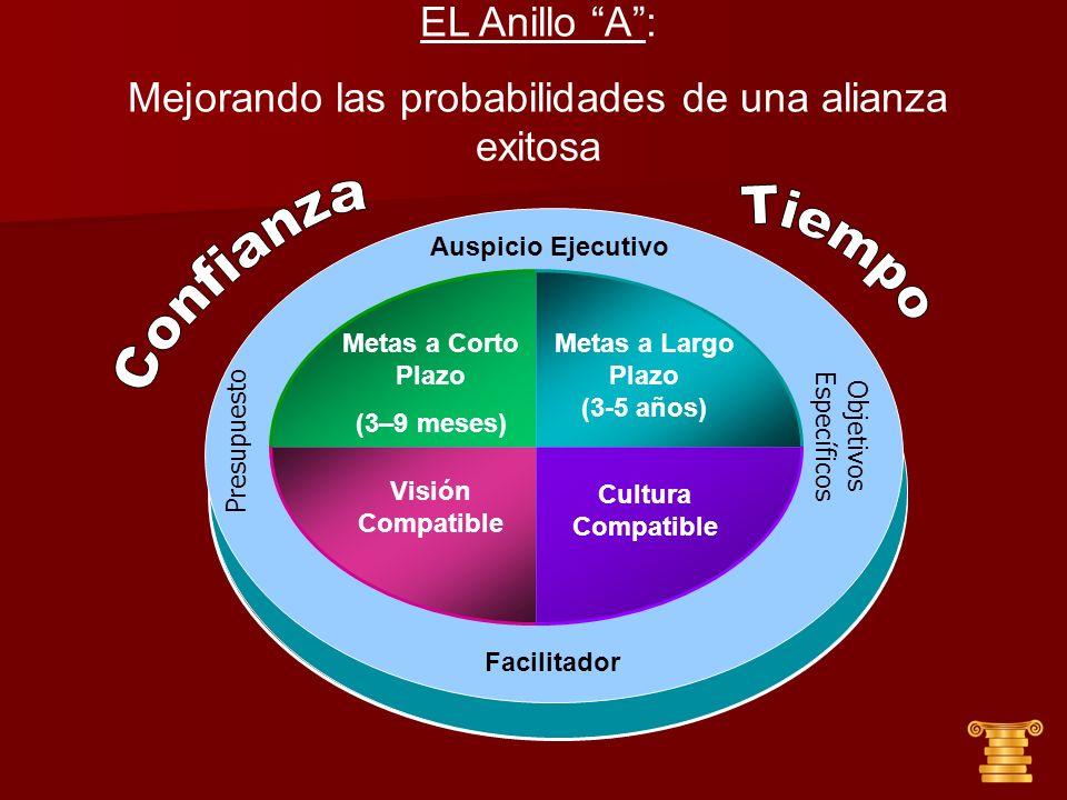 Auspicio Ejecutivo Visión Compatible Metas a Corto Plazo (3–9 meses) Metas a Largo Plazo (3-5 años) Cultura Compatible EL Anillo A: Mejorando las prob