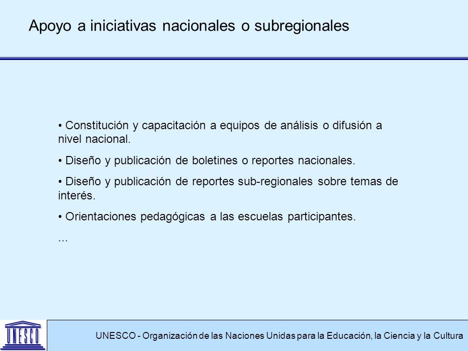 UNESCO - Organización de las Naciones Unidas para la Educación, la Ciencia y la Cultura Apoyo a iniciativas nacionales o subregionales Constitución y capacitación a equipos de análisis o difusión a nivel nacional.