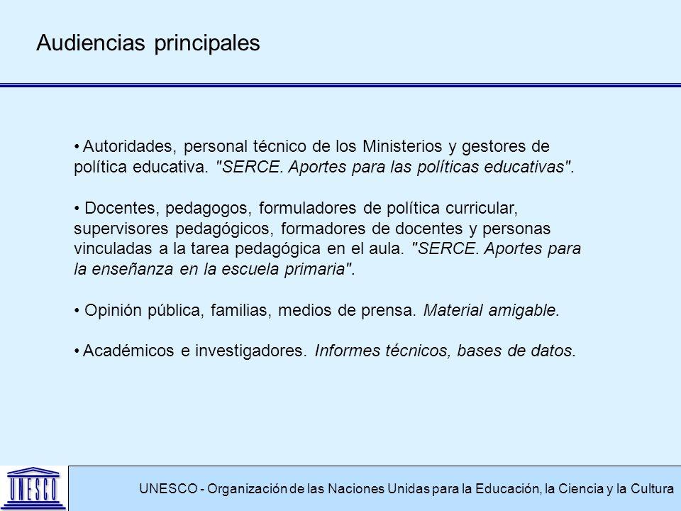 UNESCO - Organización de las Naciones Unidas para la Educación, la Ciencia y la Cultura Audiencias principales Autoridades, personal técnico de los Ministerios y gestores de política educativa.