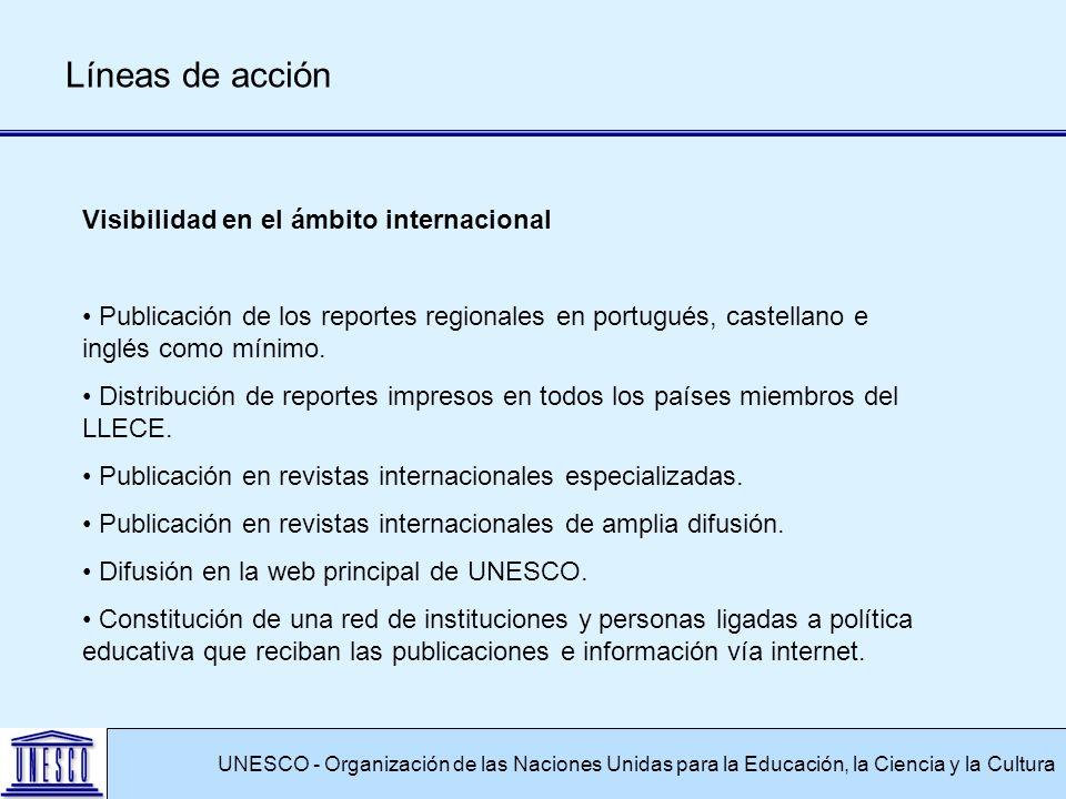 UNESCO - Organización de las Naciones Unidas para la Educación, la Ciencia y la Cultura Líneas de acción Visibilidad en el ámbito internacional Publicación de los reportes regionales en portugués, castellano e inglés como mínimo.