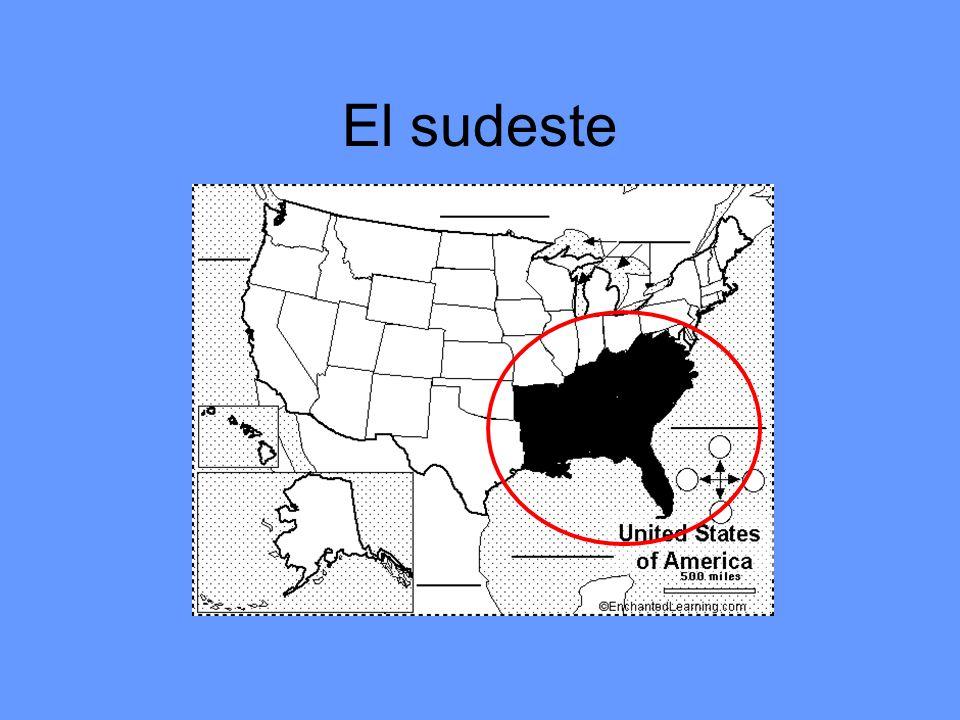 Los estados del sudeste (12) Virginia West Virginia Kentucky Carolina del Norte Tenesí Carolina del Sur Georgia La Florída Alabama Mississippi Louisiana Arkansas