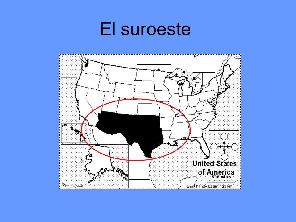 Los estados del suroeste (4) Oklahoma Tejas Nuevo México Arizona