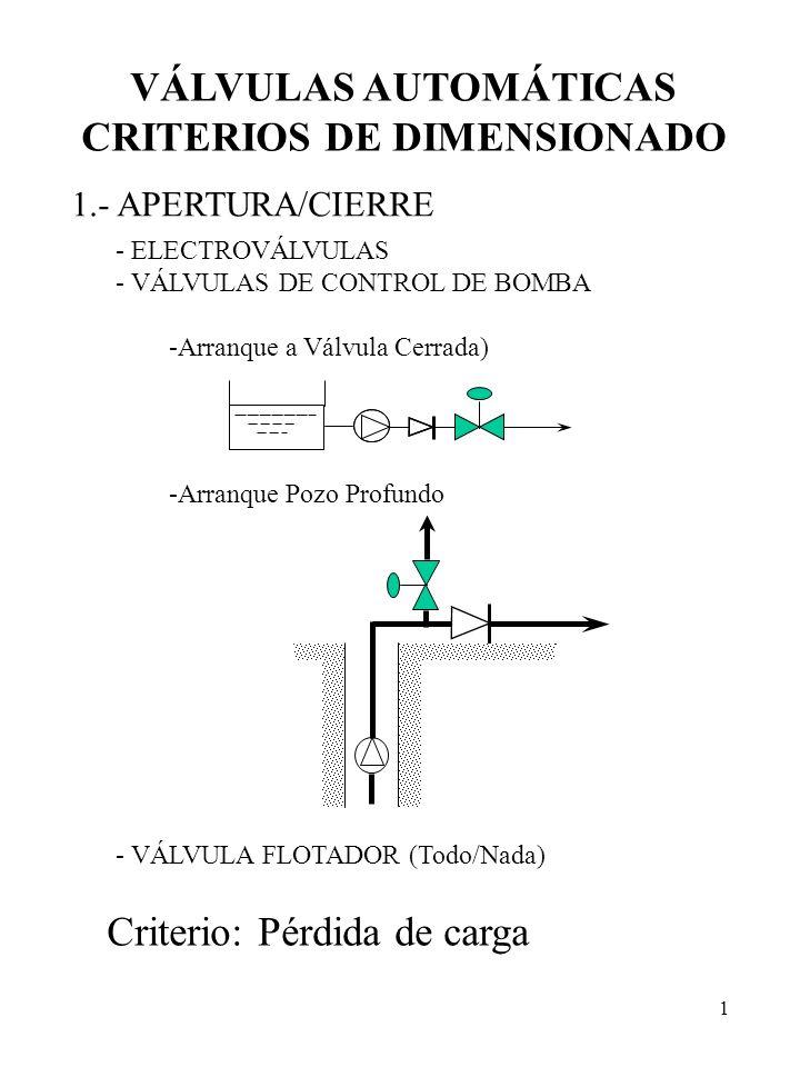 1 VÁLVULAS AUTOMÁTICAS CRITERIOS DE DIMENSIONADO 1.- APERTURA/CIERRE - ELECTROVÁLVULAS - VÁLVULAS DE CONTROL DE BOMBA -Arranque a Válvula Cerrada) -Ar