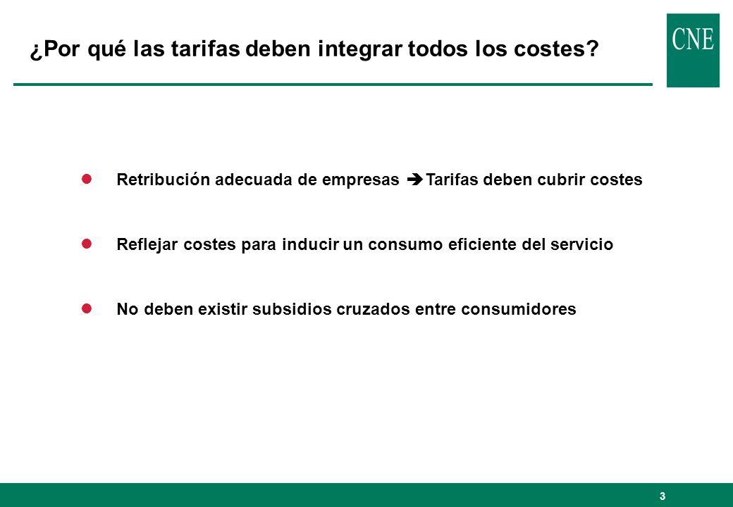 3 ¿Por qué las tarifas deben integrar todos los costes? lRetribución adecuada de empresas Tarifas deben cubrir costes lReflejar costes para inducir un