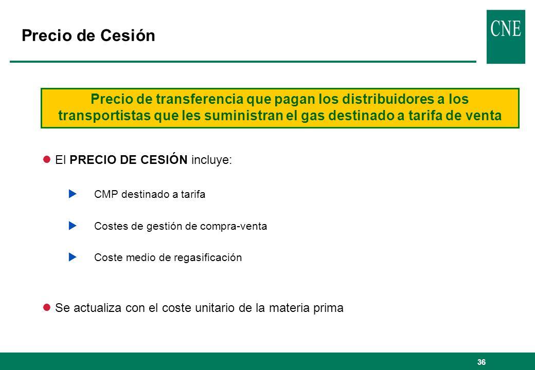36 l El PRECIO DE CESIÓN incluye: CMP destinado a tarifa Costes de gestión de compra-venta Coste medio de regasificación l Se actualiza con el coste u