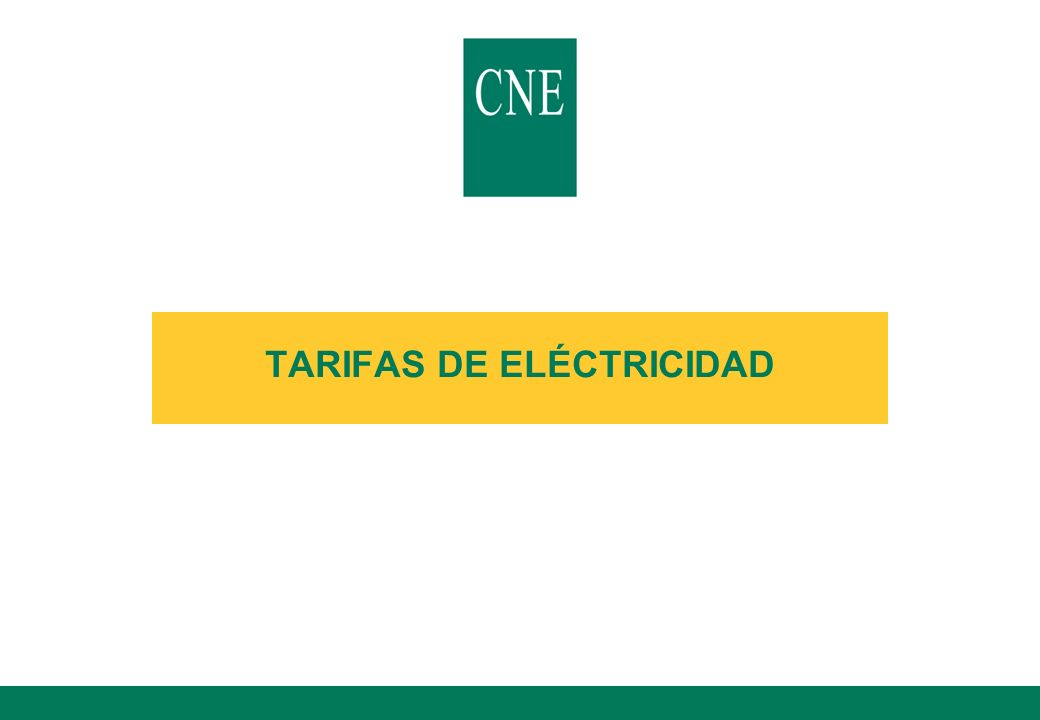 TARIFAS DE ELÉCTRICIDAD
