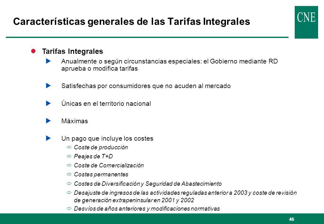46 lTarifas Integrales Anualmente o según circunstancias especiales: el Gobierno mediante RD aprueba o modifica tarifas Satisfechas por consumidores q