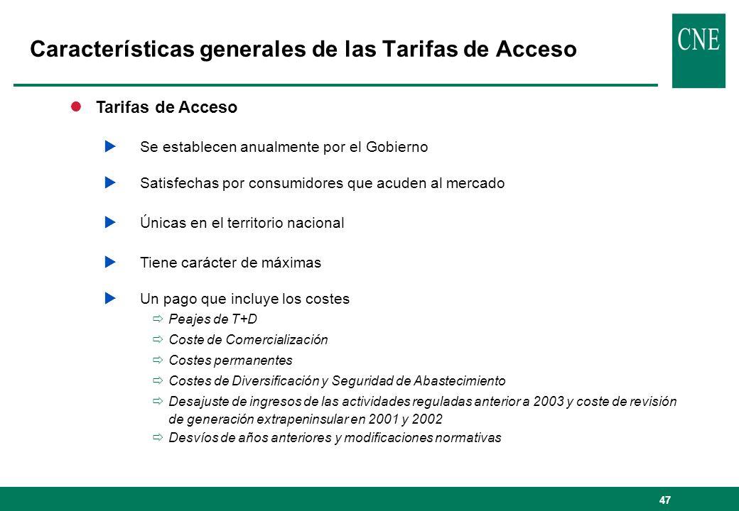 47 lTarifas de Acceso Se establecen anualmente por el Gobierno Satisfechas por consumidores que acuden al mercado Únicas en el territorio nacional Tie