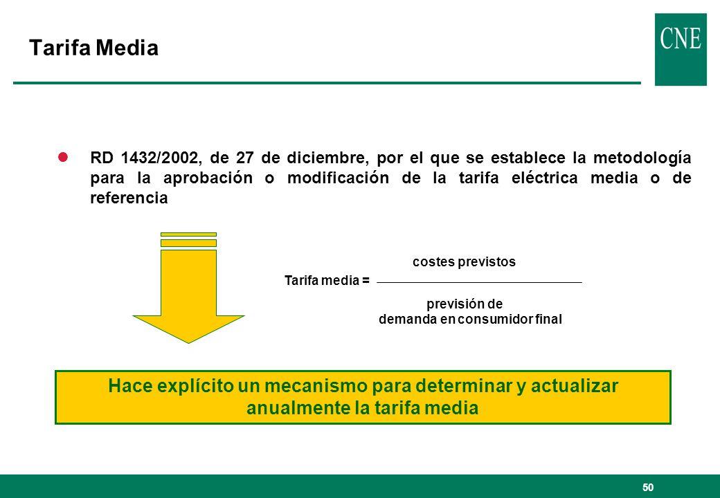 50 lRD 1432/2002, de 27 de diciembre, por el que se establece la metodología para la aprobación o modificación de la tarifa eléctrica media o de refer
